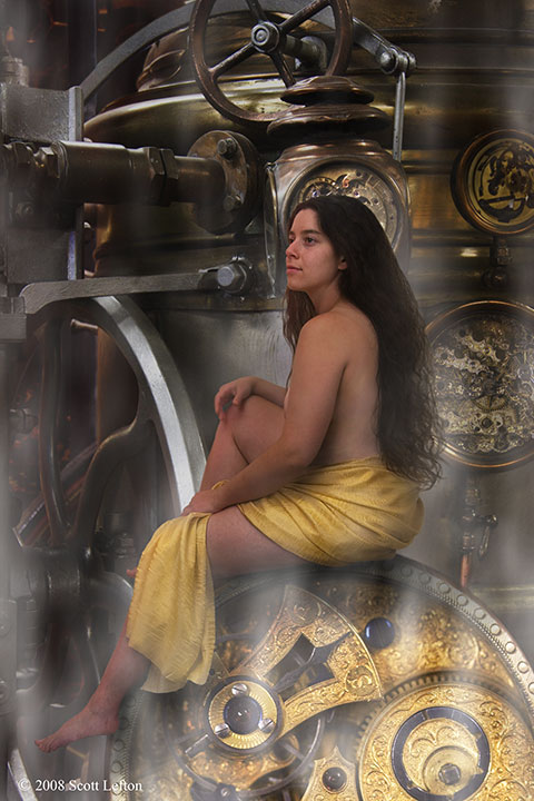 A woman draped in gold fabric sits on a large golden clockwork and is surrounded by clockwork and steam machinery.