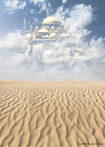 A  fantastic golden domed castle floats amidst clouds above a desolate desert landscape.  Waterfalls pour from the castle but never reach the ground.