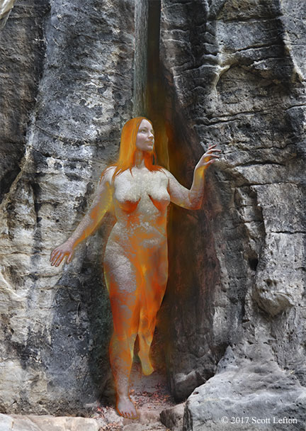 A fiery woman steps out of an opening in a rock wall, turning into rock and then flesh as she emerges.