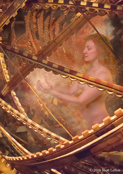 A woman stands inside an ornate spherical frame made of rings of gears, and summons a ball of glowing energy between her hands.  The light of the energy illuminates her and the inside of the sphere.