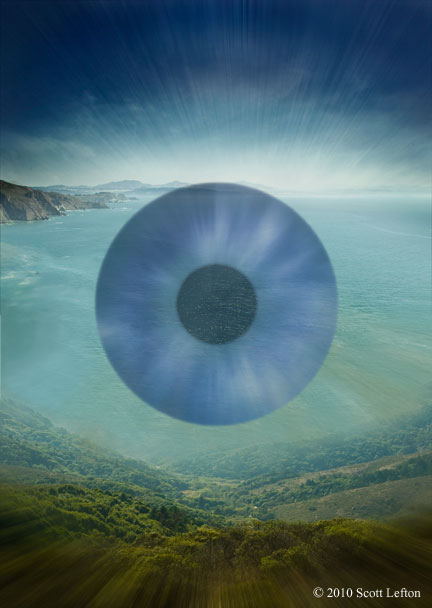 Free Will - A landscape and ocean bay, with the lighting and an iris superimposed suggesting an eye.