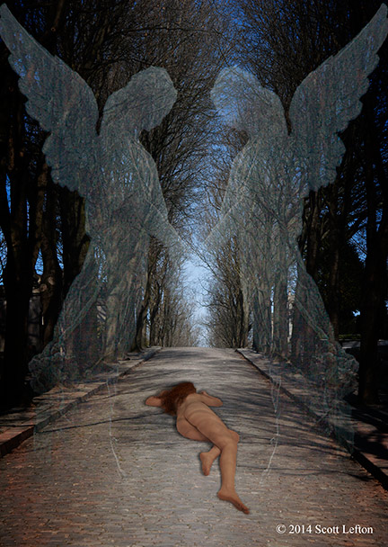 A figure lies prone on a darkly tree-lined path with  ghostly angel figures standing over them.
