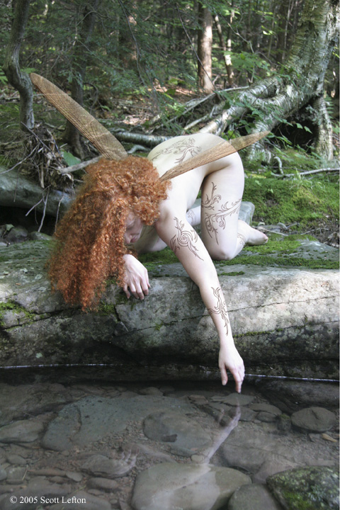 A fair-skinned faerie with bright red-orange curly hair crouches by a stony riverbank and reaches down to touch the water, in which her reflection can be faintly seen.  She has a single pair of dragonfly-like wings and numerous winding, thorny tattos.  There is greenery in the background.