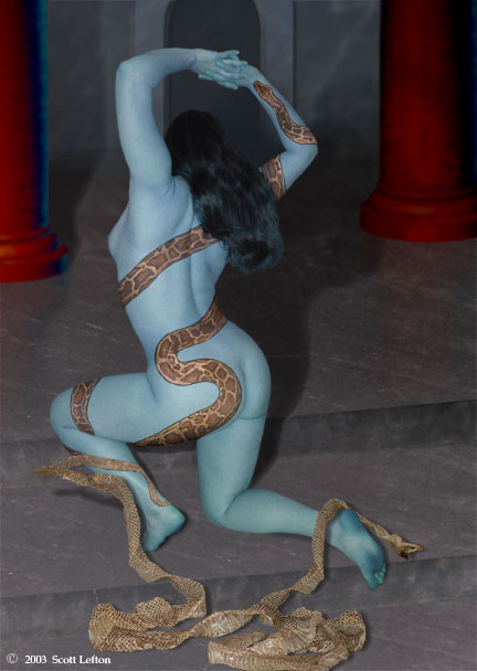 A blue-skinned woman with a  snake tattoo winding over her body kneels on stone steps, with a snakeskin peeling off of the tattoo.