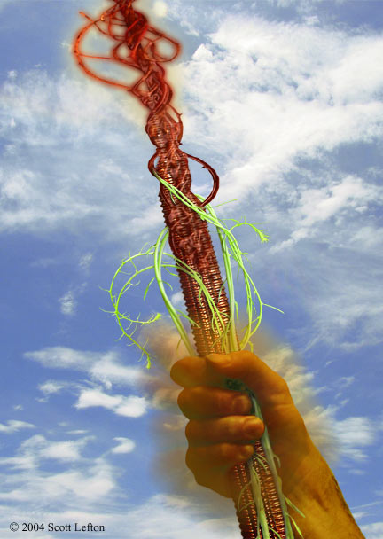 A hand surrounded by a slight glow holds aloft a metal staff and some green plant shoots.  The shoots are twining up the metal and merging with it to form something else, much more complex in form and material.