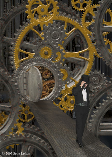 A man in tuxedo and top hat walks along a ramp away from a doorway into a large, complicated geared machine.