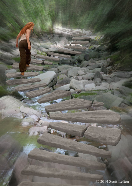 A figure walks along a stairway of stone slabs, which float in the air over a river in a forest.