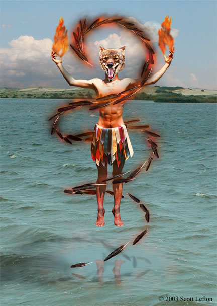 A coyote-headed man floats in the air above water, a swirl of flaming raven feathers around him.