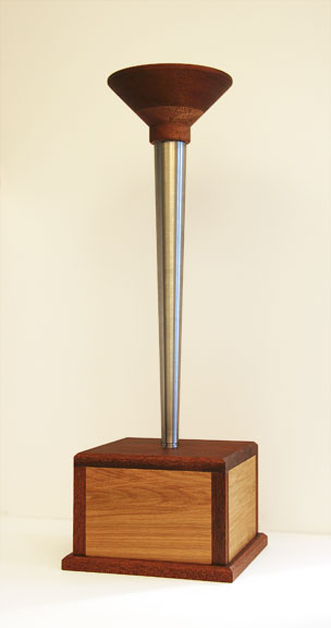 Olympic Torch Trophy made of mahogany, birch plywood and aluminum