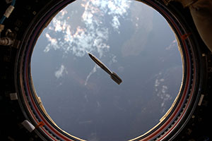 Thumbnail of the Mini Hugo rocket, flaoting aboard  the ISS.
